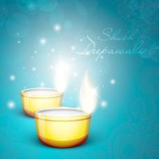在印度的印度社区的节日排灯节或排灯节美丽的背景