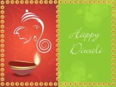 美的照明迪亚背景的印度社区的节日排灯节或排灯节在印度