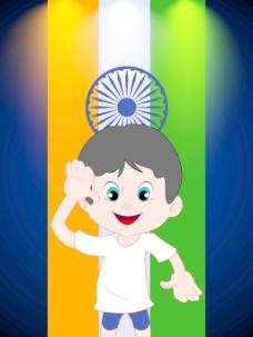 印度国旗敬礼背景卡通男孩