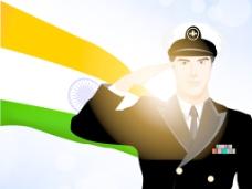 向士兵剪影印度挥舞旗帜的背景
