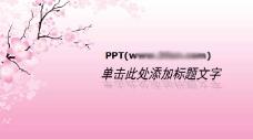 桃花宽屏风格的中国风PPT模板