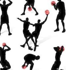 7篮球运动人物动作剪影矢量素材