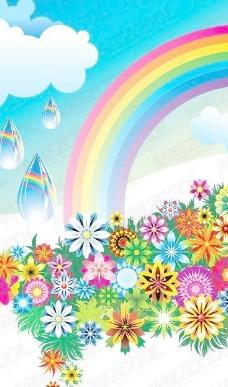 五颜六色的鲜花彩虹矢量素材