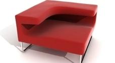 红色时尚沙发创意设计3D模型素材