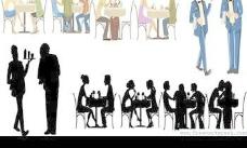 餐厅的人集合矢量