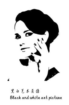 女性半身黑白艺术速写图片