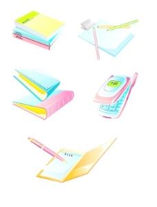 韩国记事本、书、手机、夹子等图标矢量图116