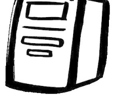 电脑主机水墨简笔画
