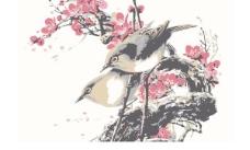 一幅小鸟梅花图工笔画