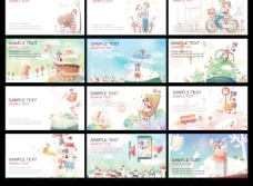 卡通情侣插画设计卡片背景矢量素材