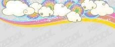 可爱的趋势云彩虹背景矢量素材