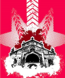 红色的建筑背景海报矢量矢量素材