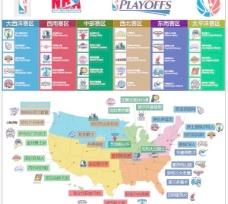 NBA球队的标签和分布地图矢量素材
