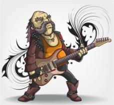 卡通吉他手图片
