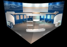 蓝色调展厅效果图3D模板