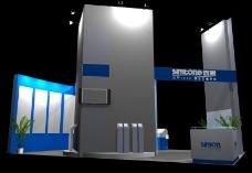 灰兰相间展厅效果图3D模板