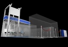 蓝色调展厅侧面效果图3D模型