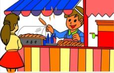 卖烤肠的卡通图