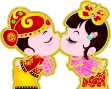 卡通新郞新娘图片