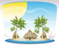 卡通热带海岛背景矢量素材