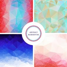 4款彩色几何体背景矢量素材