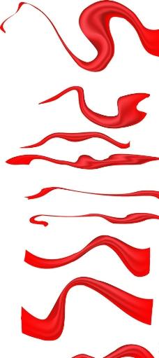 红色绸缎飘带彩带图片