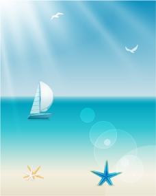 宁静海洋帆船背景矢量素材