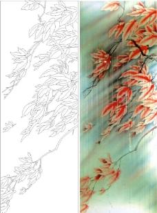 枫叶红枫艺术玻璃彩绘