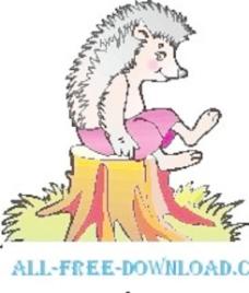 刺猬在树桩上