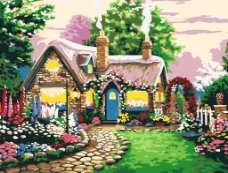 数字油画 童话小屋图片