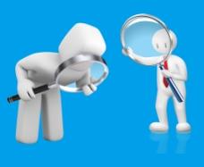 拿放大镜的立体3D小人  已经抠出 分层