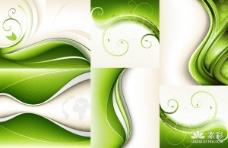 6款绿色动感背景矢量图