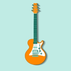 橘色吉他设计矢量图