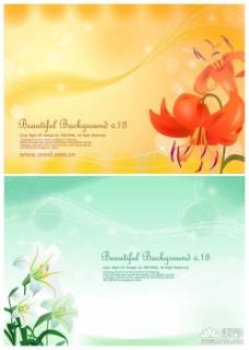 百合花花卉背景矢量图