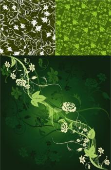 花枝招展绿色背景