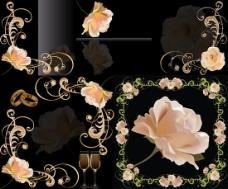 幽雅玫瑰花边背景