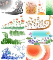 漂亮手绘花草背景图案矢量图5