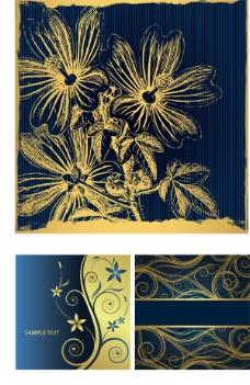 金色蓝底花纹背景