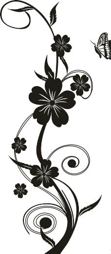清晰皇冠花藤素材黑白