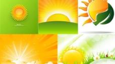卡通太阳夏季背景矢量素材
