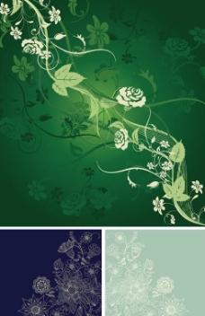线描花纹花卉纹样背景矢量图ai