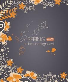 春季花纹装饰背景矢量素材