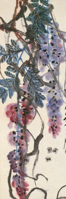 紫藤手绘墙壁画