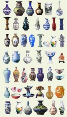 古典青花瓷花瓶psd素材