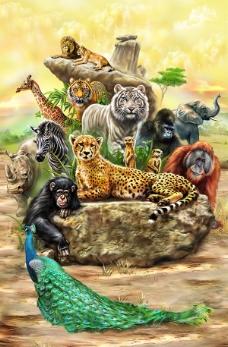 手绘动物海报PSD素材