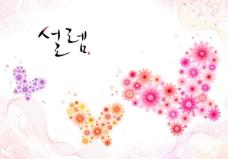 花朵组成的蝴蝶图案PSD素材