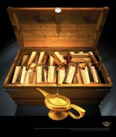 金条金壶木箱psd素材