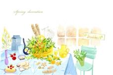 韩国家居餐桌插画PSD素材