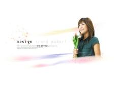 韩国动感美女炫彩背景psd素材26