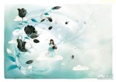 韩国梦幻风景插画高清分层TIF素材8
